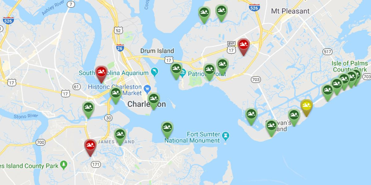 High bacteria levels detected at Charleston area waterways