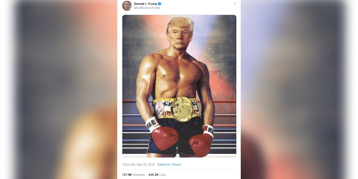 President Donald Trump tweets photoshopped picture of himself as Rocky Balboa