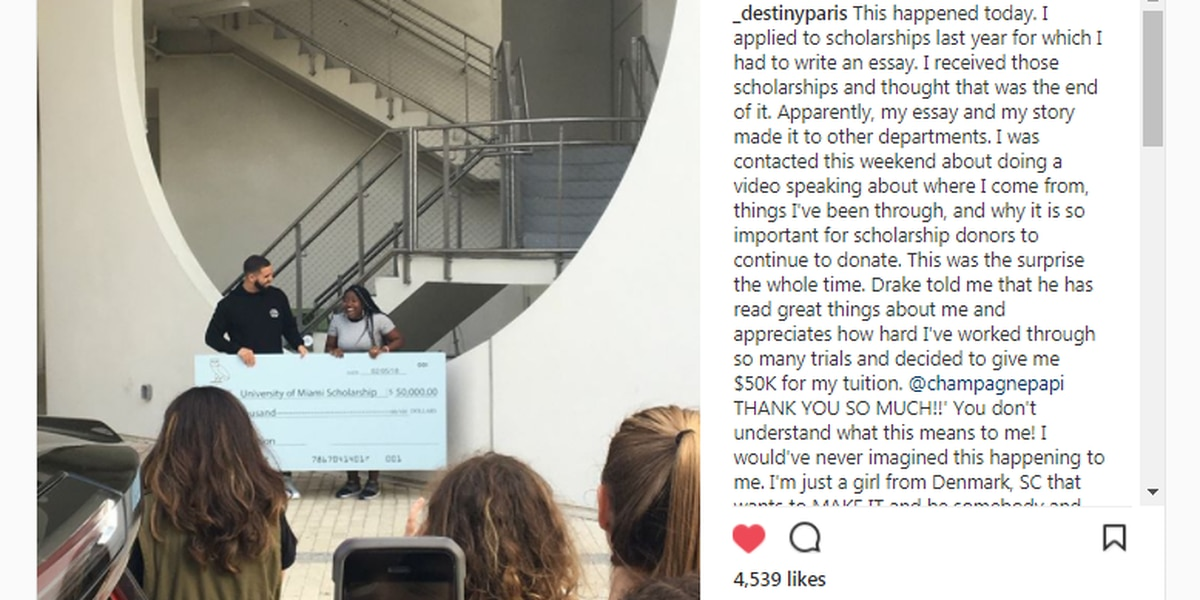 SC student surprised with $50K scholarship from rapper Drake