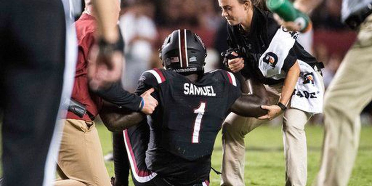 Muschamp says star receiver out for year with broken leg, Deebo disputes report