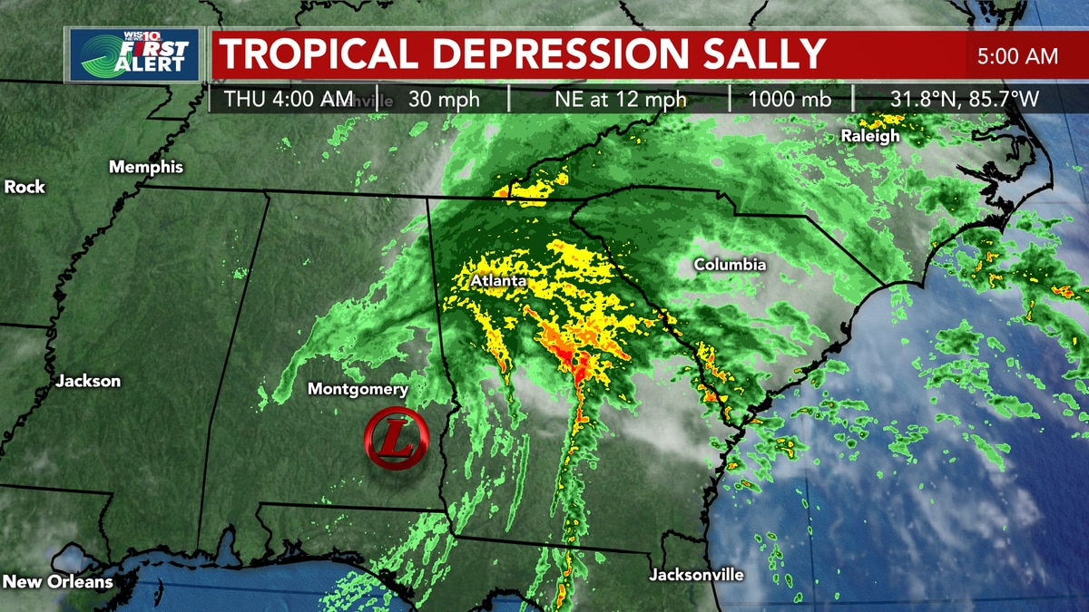 TROPICS: Sally is hitting the Midlands with heavy rain, gusty winds, storms, flooding