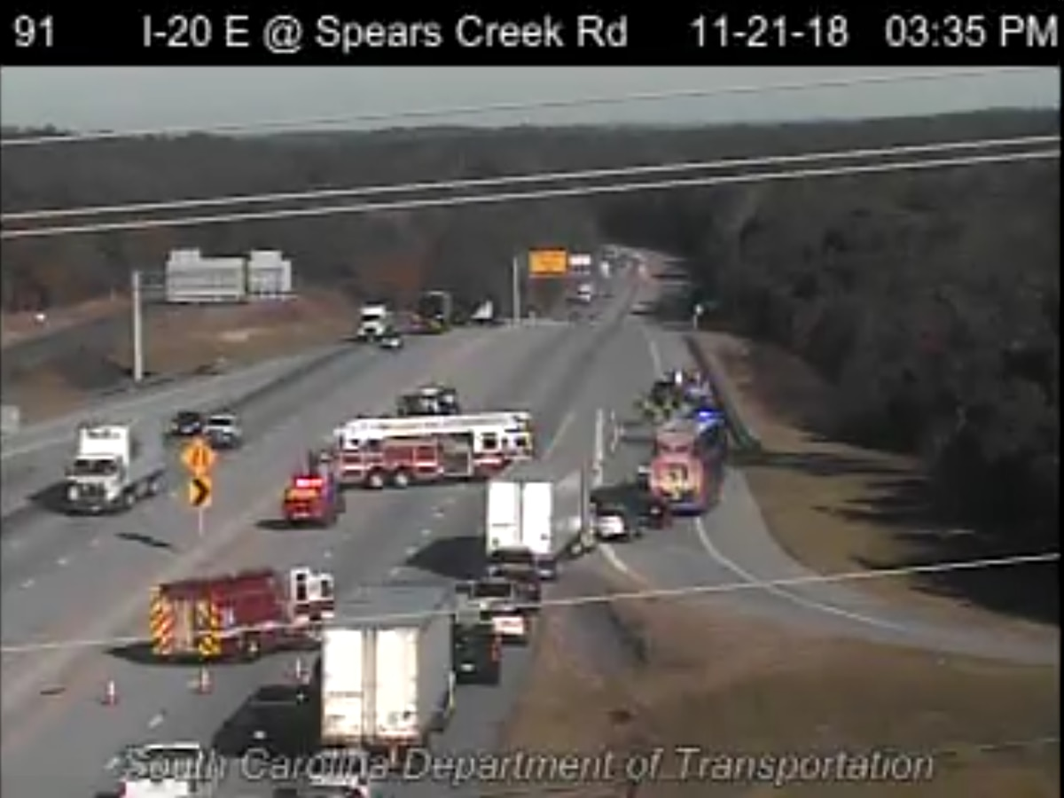FIRST ALERT TRAFFIC: 5-car collision blocks traffic on I-20 EB at Spears Creek Road