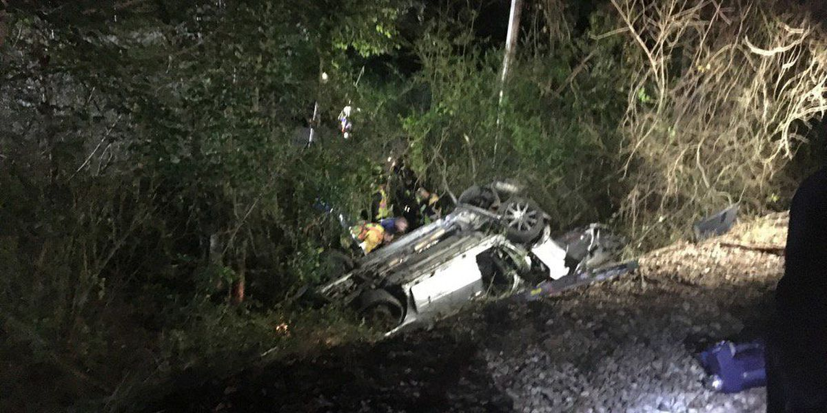 One extricated from car following crash with train