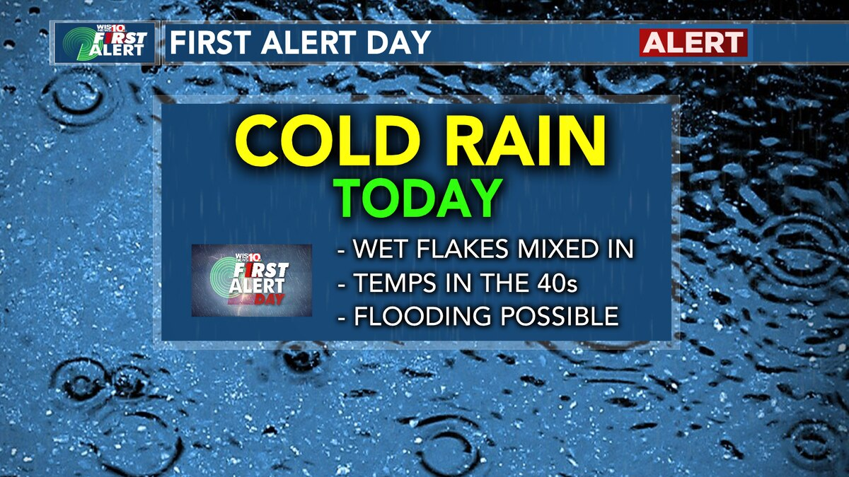FIRST ALERT: Heavy rain, wet flakes for parts of the Midlands today, then black ice possible Friday AM