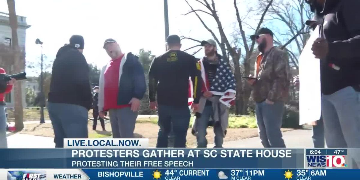 Protestors gather at State House over free speech concerns