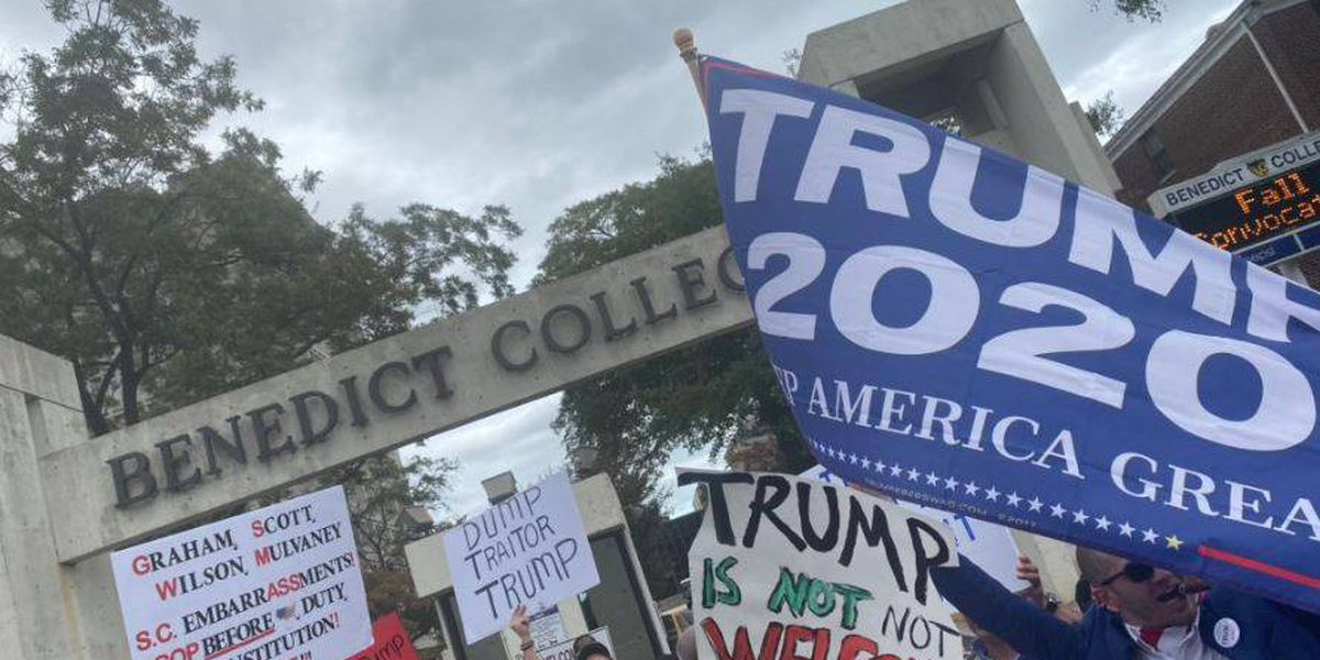 Protesters, supporters clash outside Benedict College during President Trump's visit