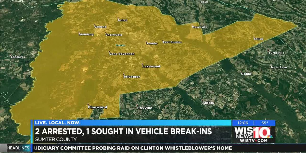 2, including 14-year-old, charged in numerous car break-ins in Sumter County; 1 wanted