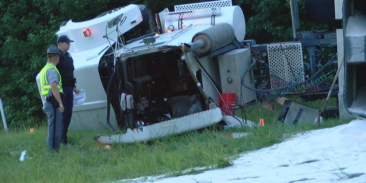 Overturned tractor-trailer cleared from I-26 ramp to I-20