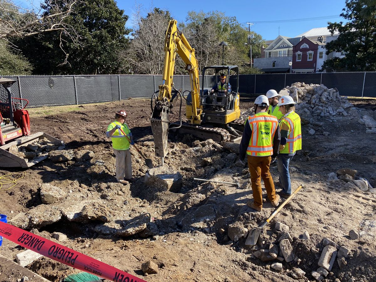 Crews find potential time capsule in base of Calhoun Statue in downtown Charleston