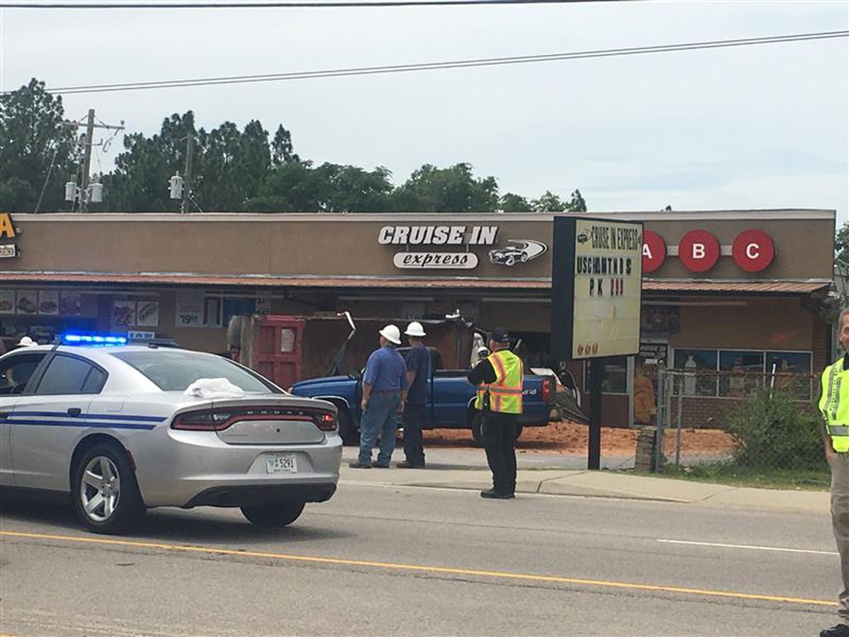 Overturned dump truck hits business, causing power outages in South Congaree