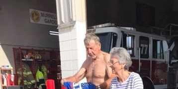 Man not allowed to wear Trump shirt votes shirtless