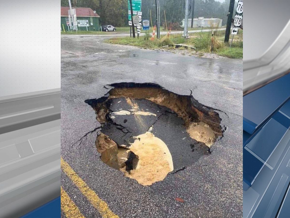 Sinkhole caused by weather forces officials to close part of highway in Sumter