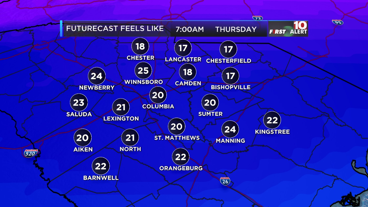 Columbia Sc Wis Ce Yourself For Another Cold Day On Thursday Before Our Temperatures Gradually Start To Warm Up