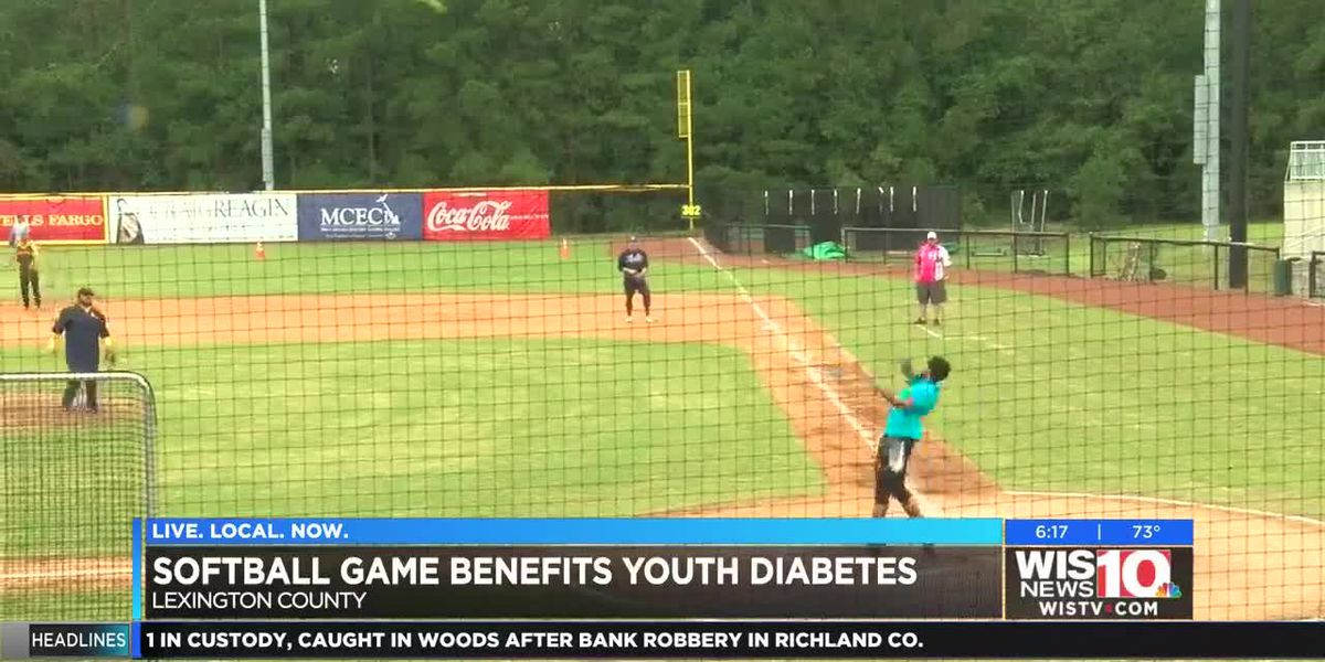 Celebrity athletes played softball in the rain for the SC Youth Diabetes Association