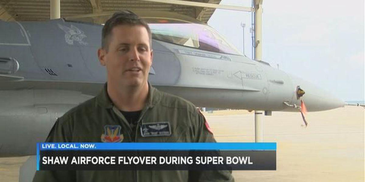 Shaw Air Force Base 'Viper Demo Team' performs Super Bowl flyover