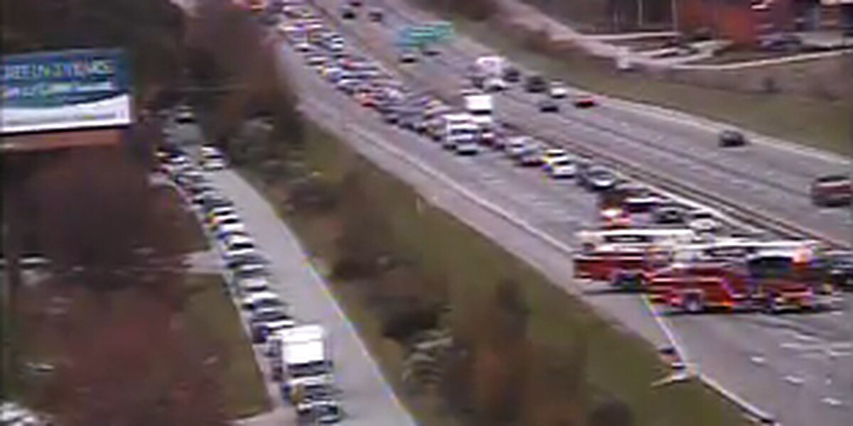 Traffic backup on I-26 due to multi-vehicle crash and separate car fire