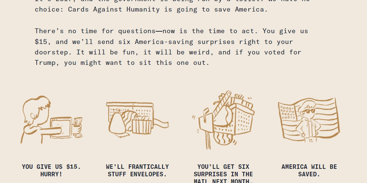 Cards Against Humanity purchased a piece of US border to block President Trump's wall plans