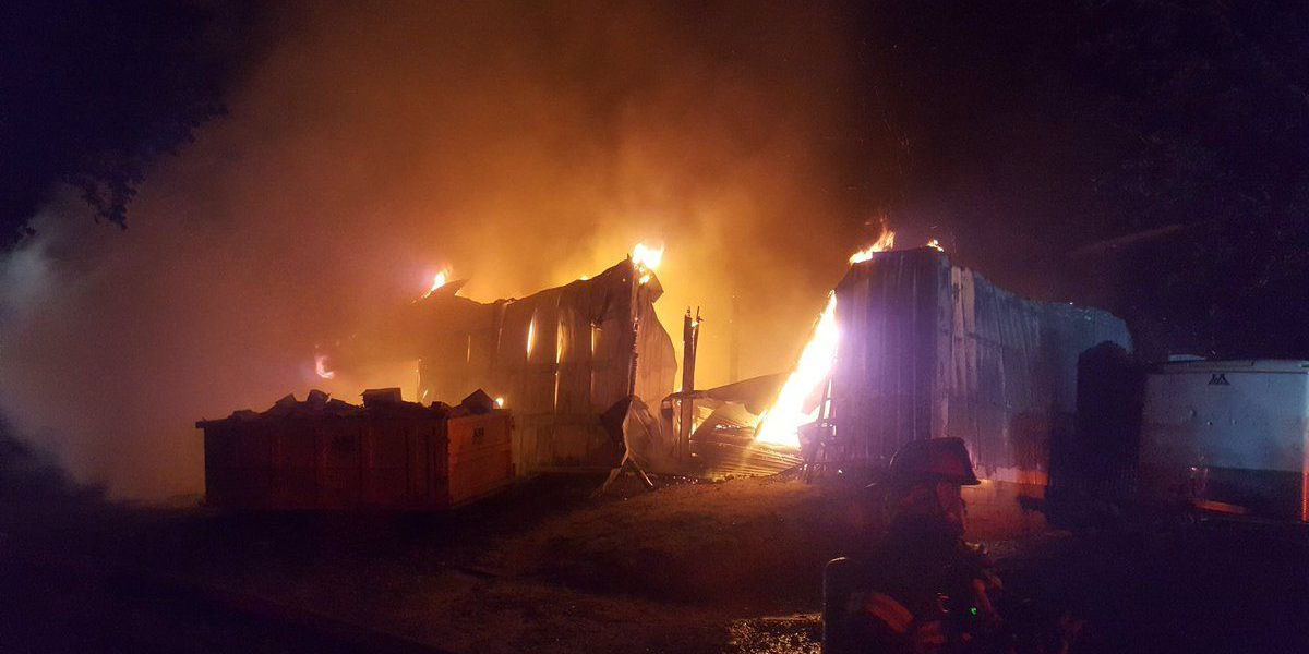 Workshop destroyed by fire
