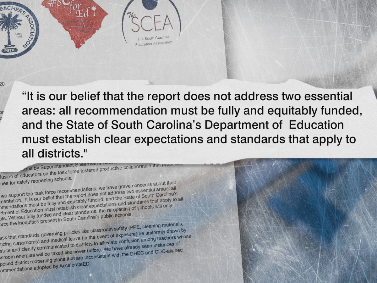 Teachers' groups express concern about reopening schools in letter to SC governor
