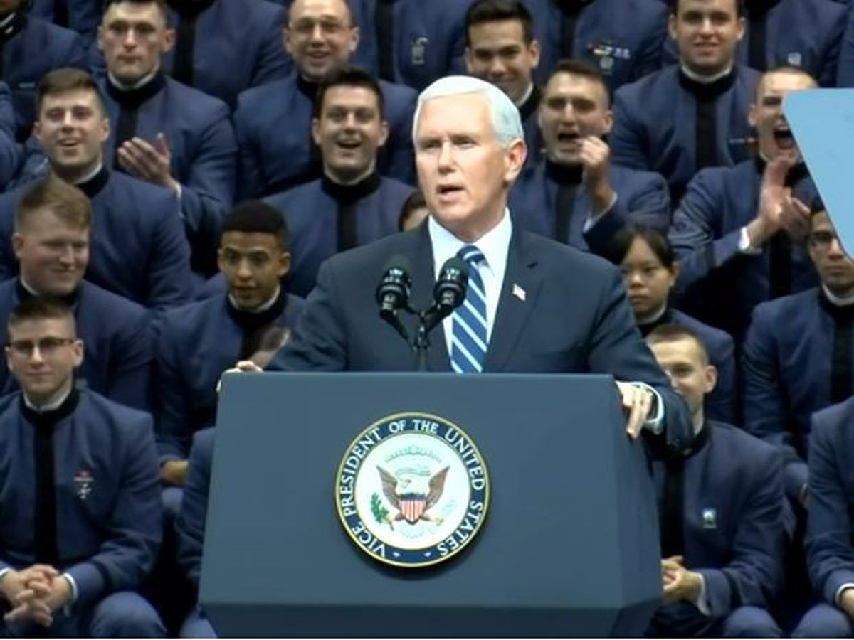 Vice President Mike Pence speaks to Citadel Cadets