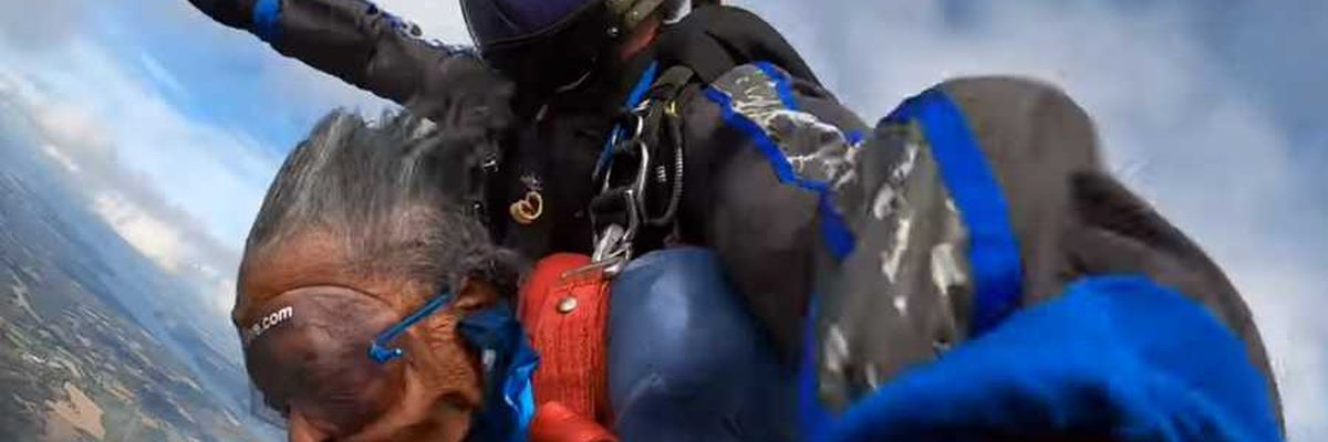 On her 102nd birthday, this woman took the plunge — from 10,000 feet up