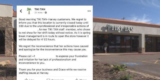 Tanning salon posted worker's personal information online after she missed her shift