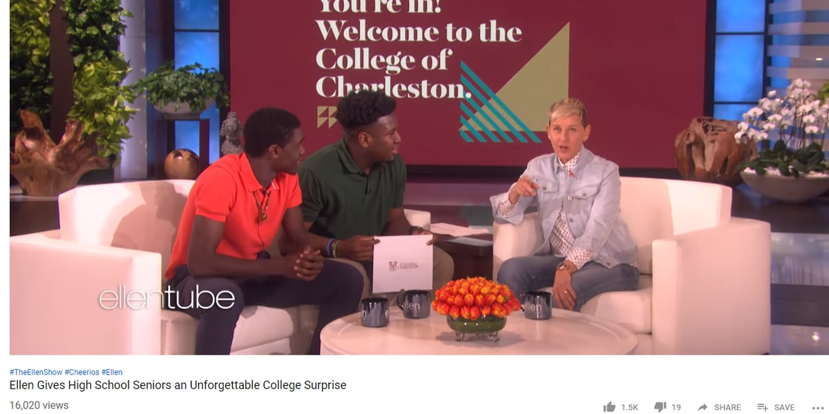 Ellen DeGeneres gives Summerville teens full-ride scholarships to CofC