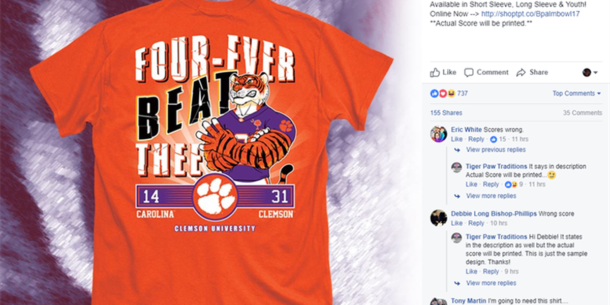 Clemson celebrates fourth straight victory over South Carolina with T-shirt