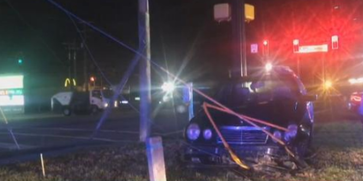 Car crashes, takes down power poles in West Columbia