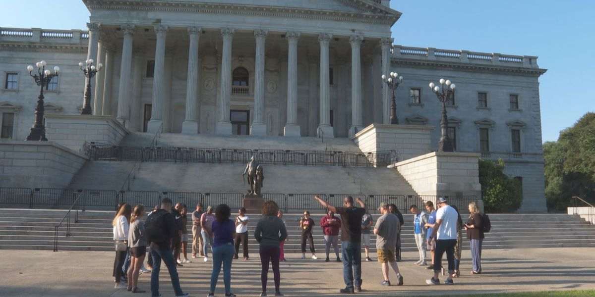 Churchgoers gather for early morning prayer circle outside State House