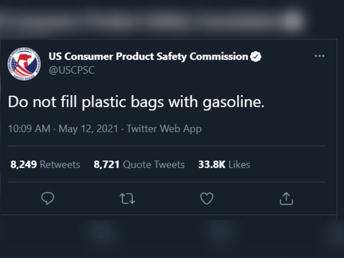USCPSC: 'Do not fill plastic bags with gasoline' as panic-buying sweeps the Southeast