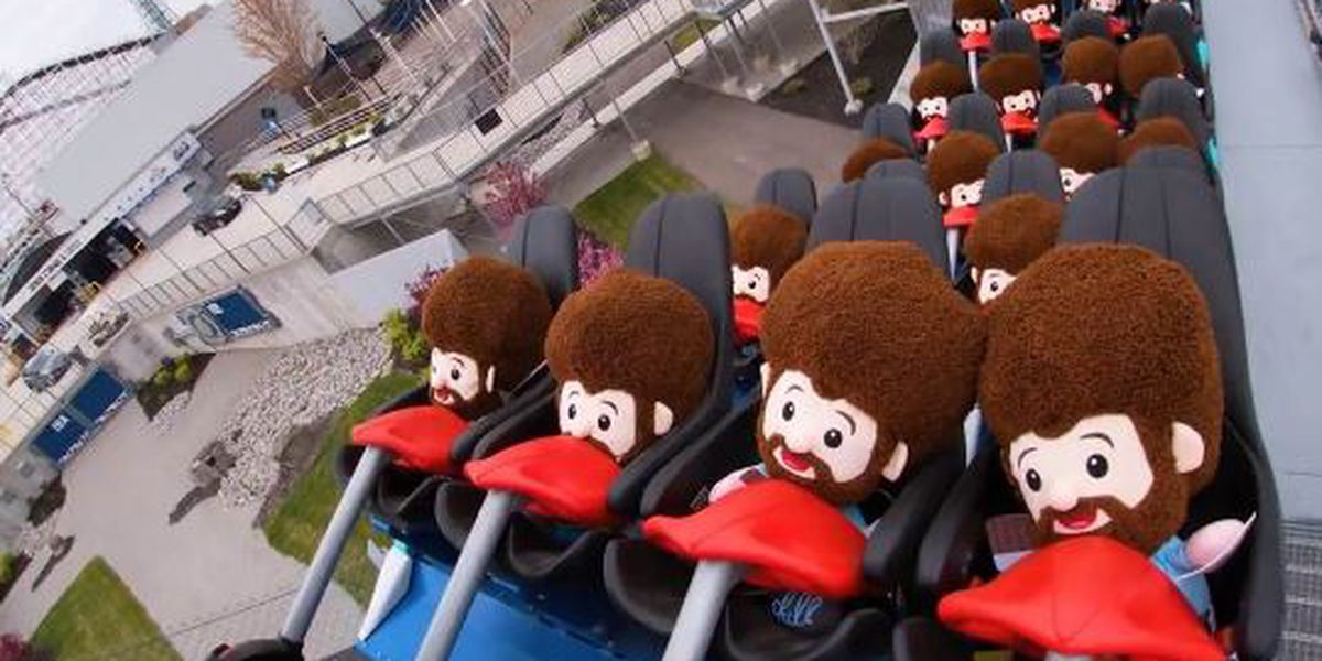 WATCH: Bob Ross plush toys test ride Orion at Kings Island
