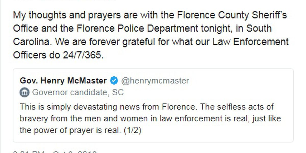 Many take to Twitter to express their sympathy after Florence police officer killed in shooting