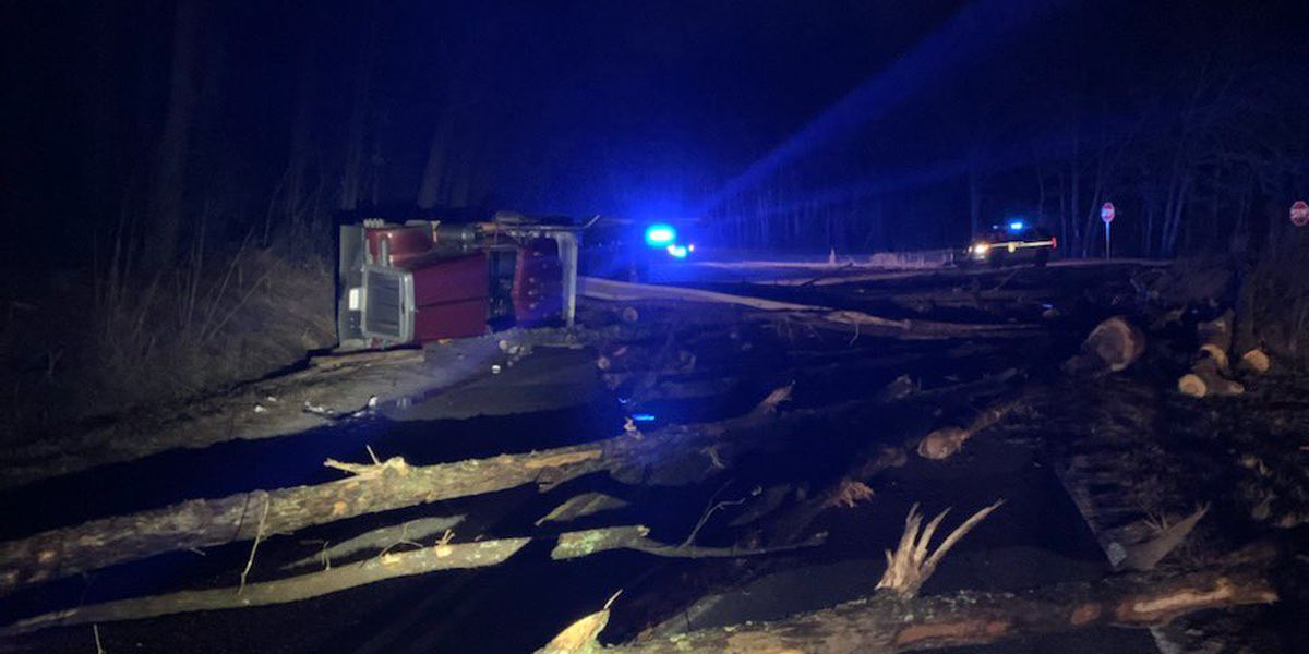 McCords Ferry Rd. partially closed due to overturned semi-truck