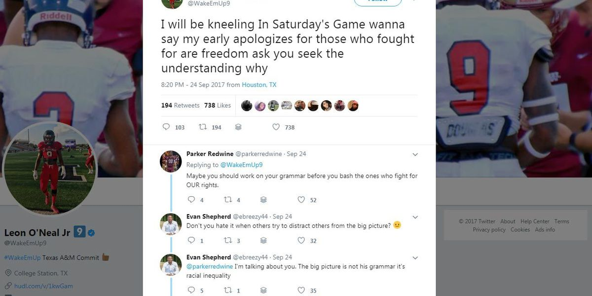 Texas A&M commit to kneel during anthem before Aggies-Gamecocks game