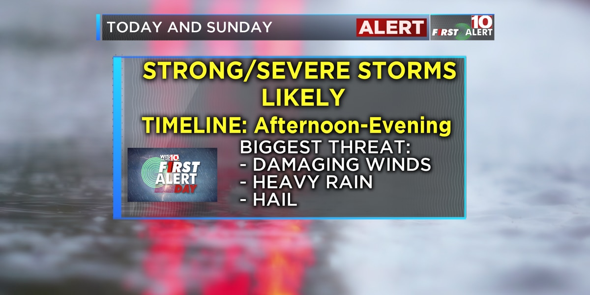 First Alert Forecast: Downpours and storms on Sunday