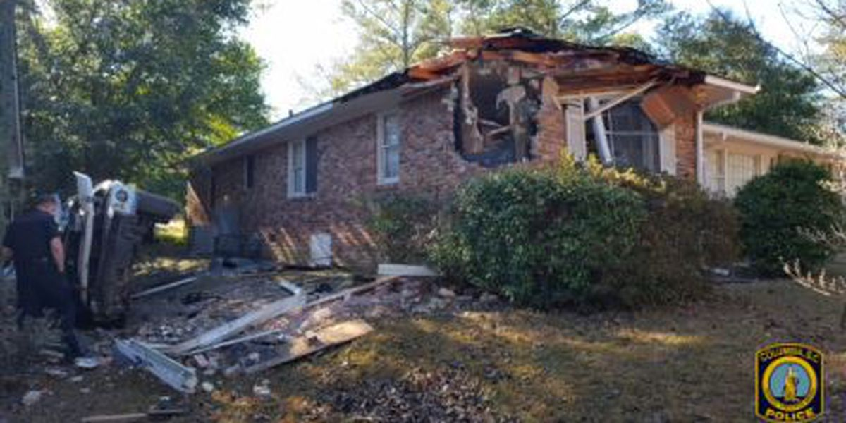 CPD: SC Highway Patrol investigating chase that led to stolen car crashing into home