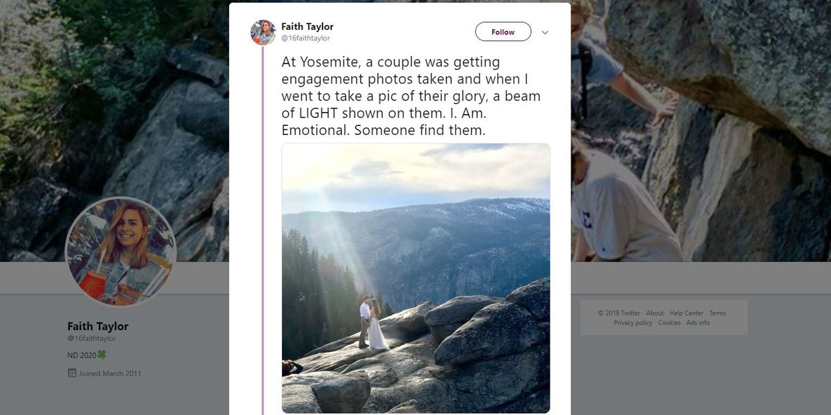 Student hunts for 'mystery couple' she captured in stunning engagement photo at Yosemite