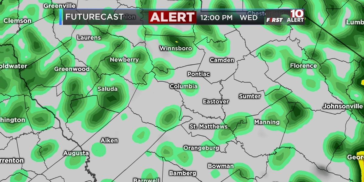 First Alert Forecast: Alert Day Wednesday for areas of heavy rain