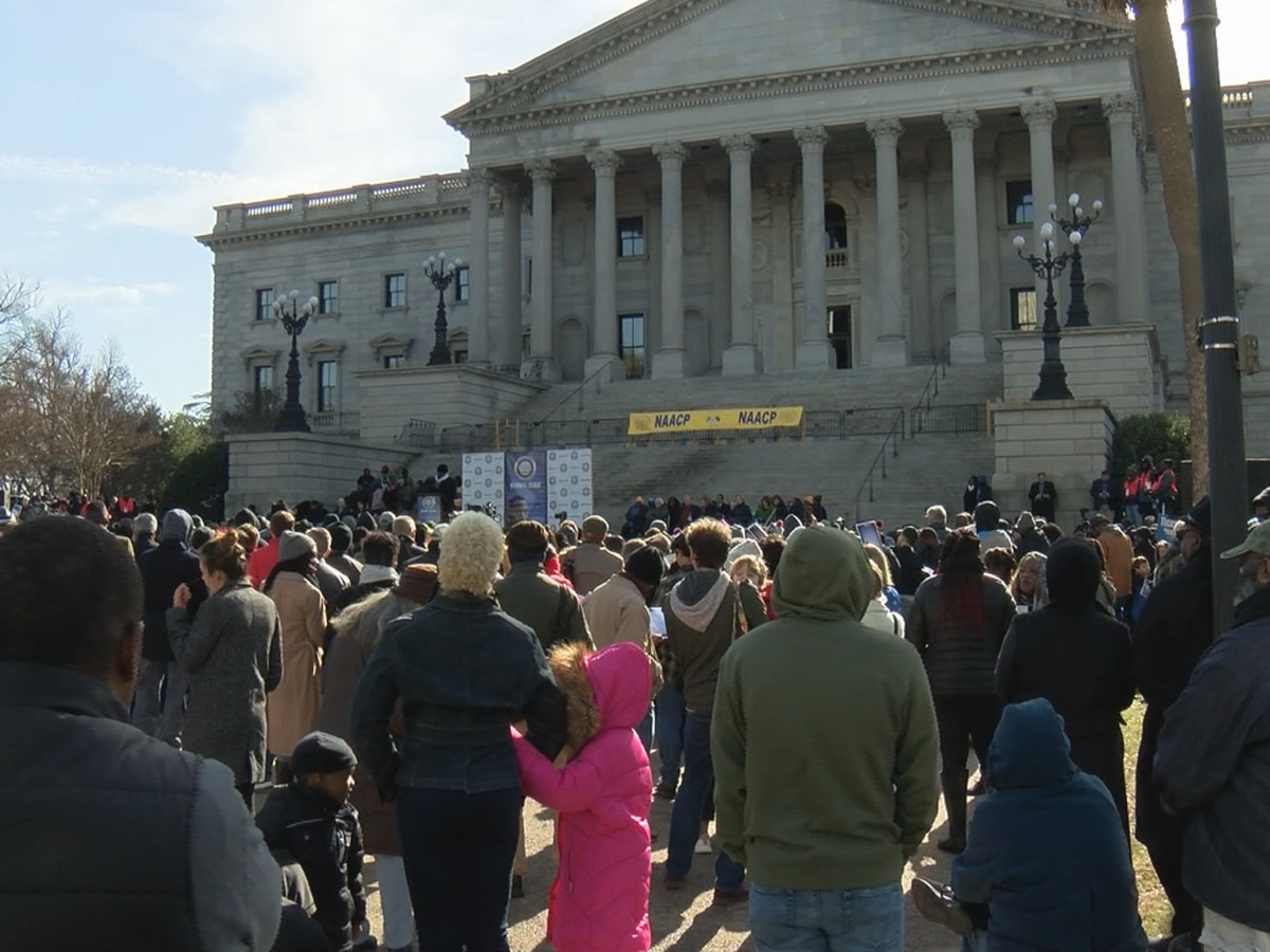 Hundreds rally at the State House for King Day at the Dome