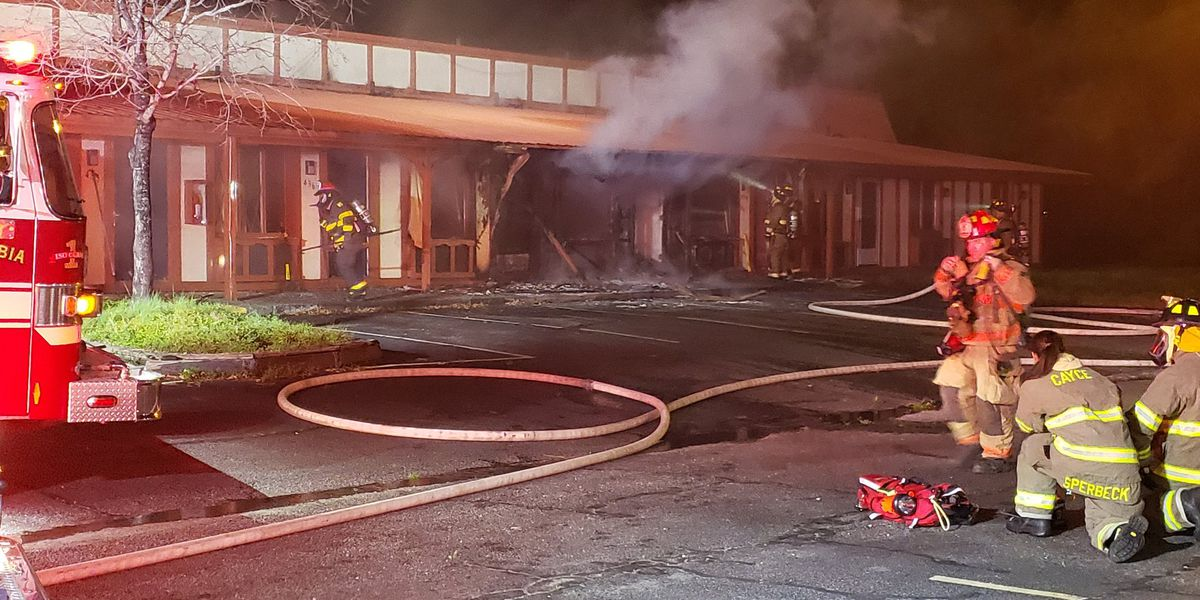 Firefighters battle flames at closed Cayce hotel