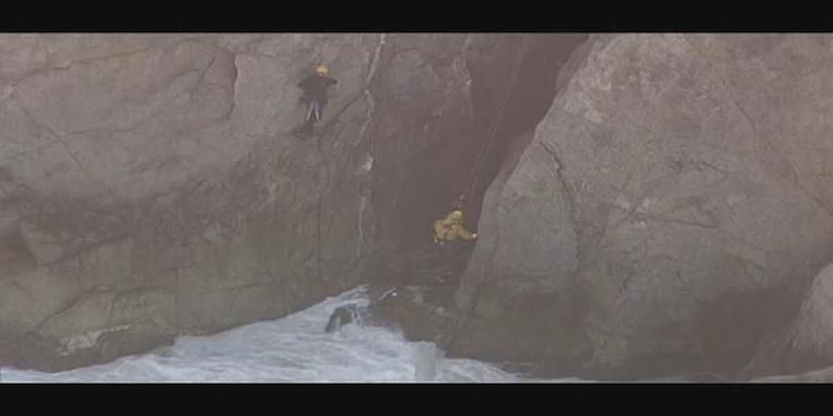 LIVE: Rescuers work to save car driven off of cliff in northern California
