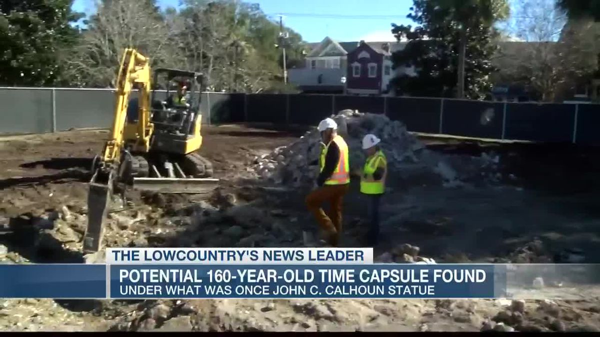 VIDEO: Crews find potential time capsule in base of Calhoun Statue in downtown Charleston