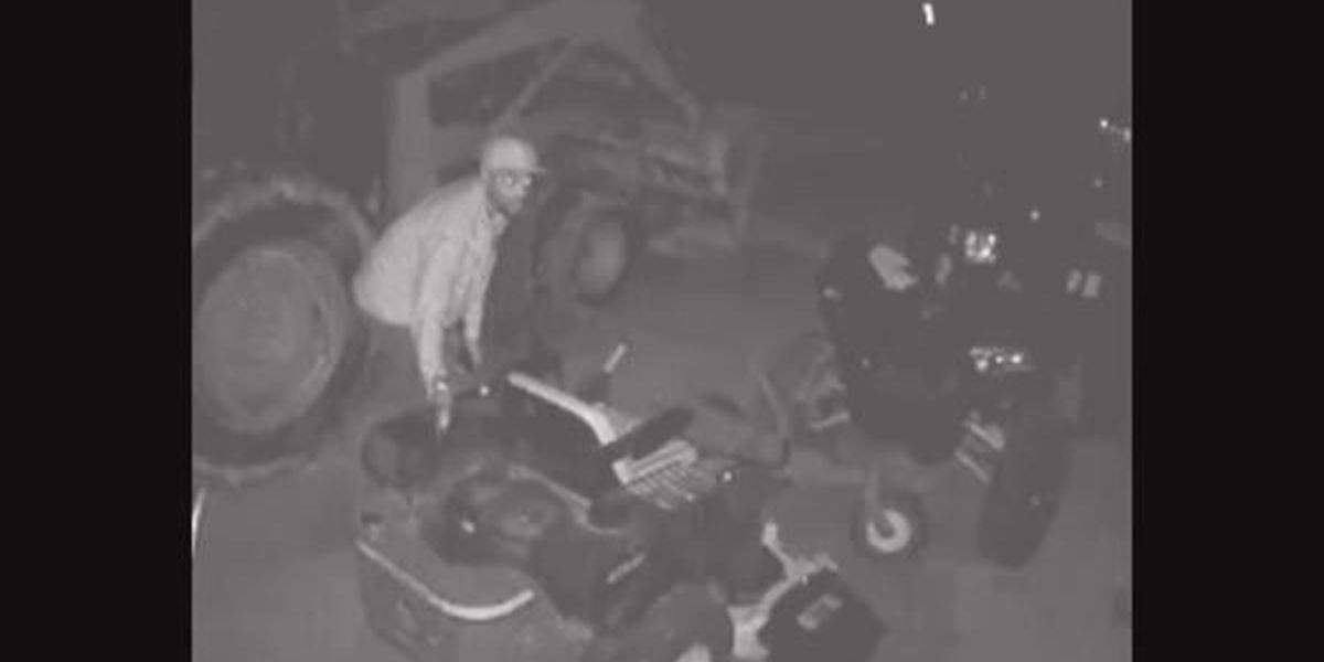 Surveillance captures man attempting to steal lawn equipment