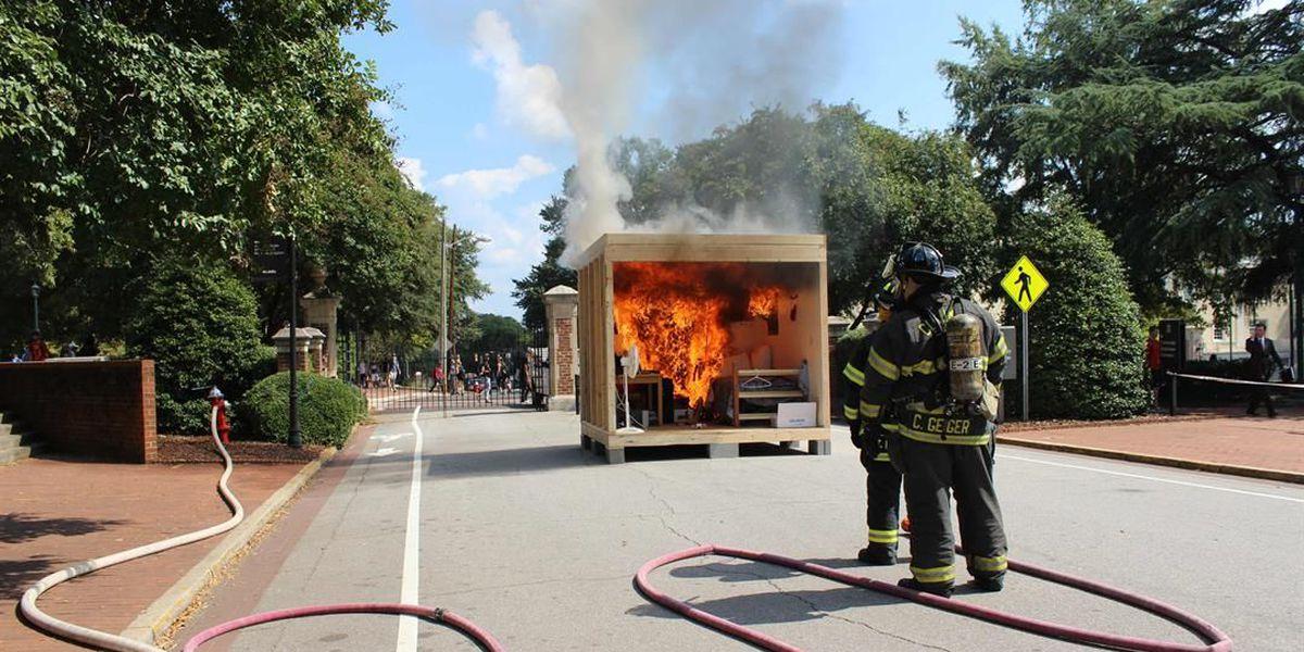 Mock dorm room set on fire in safety demonstration for USC students
