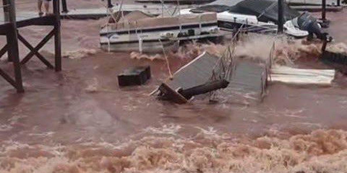 Video of Irma's wrath shows Lake Murray dock falling apart, boat capsized