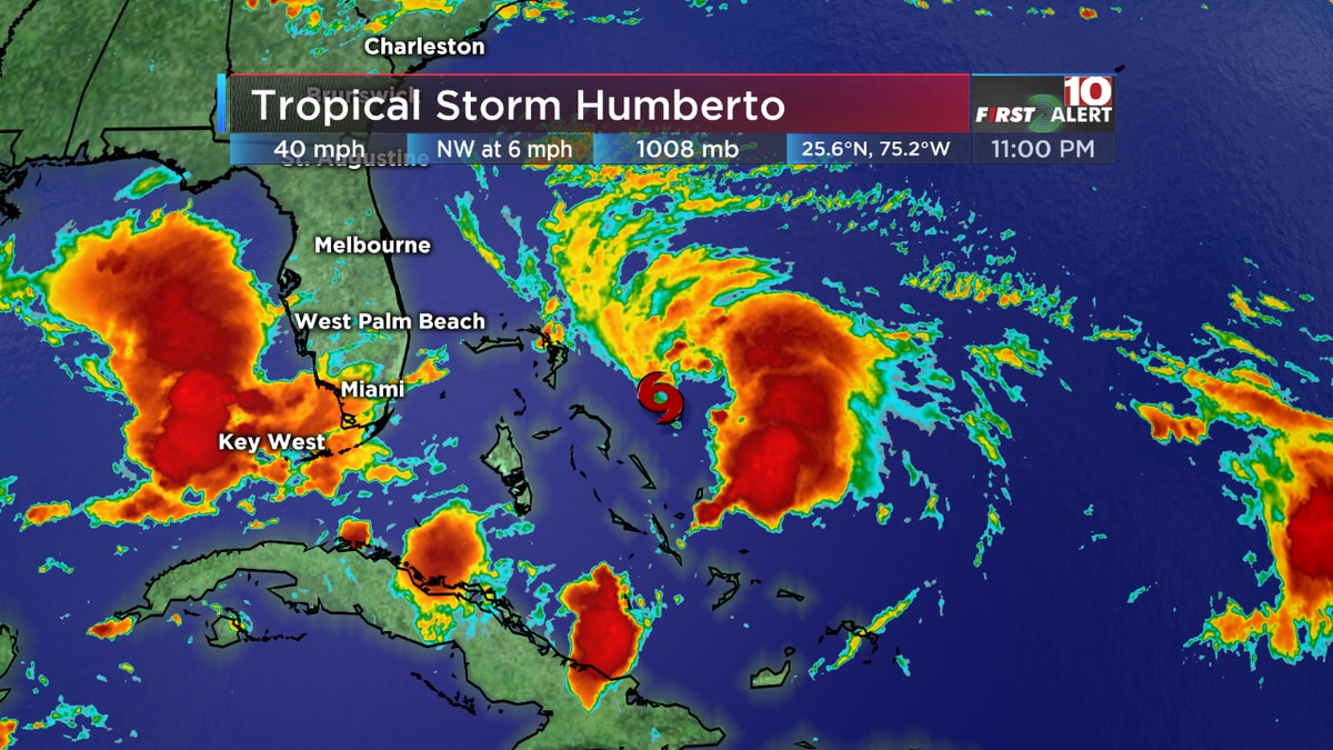 HUMBERTO: Depression strengthens into Tropical Storm Humberto; storm will churn off U.S. coast