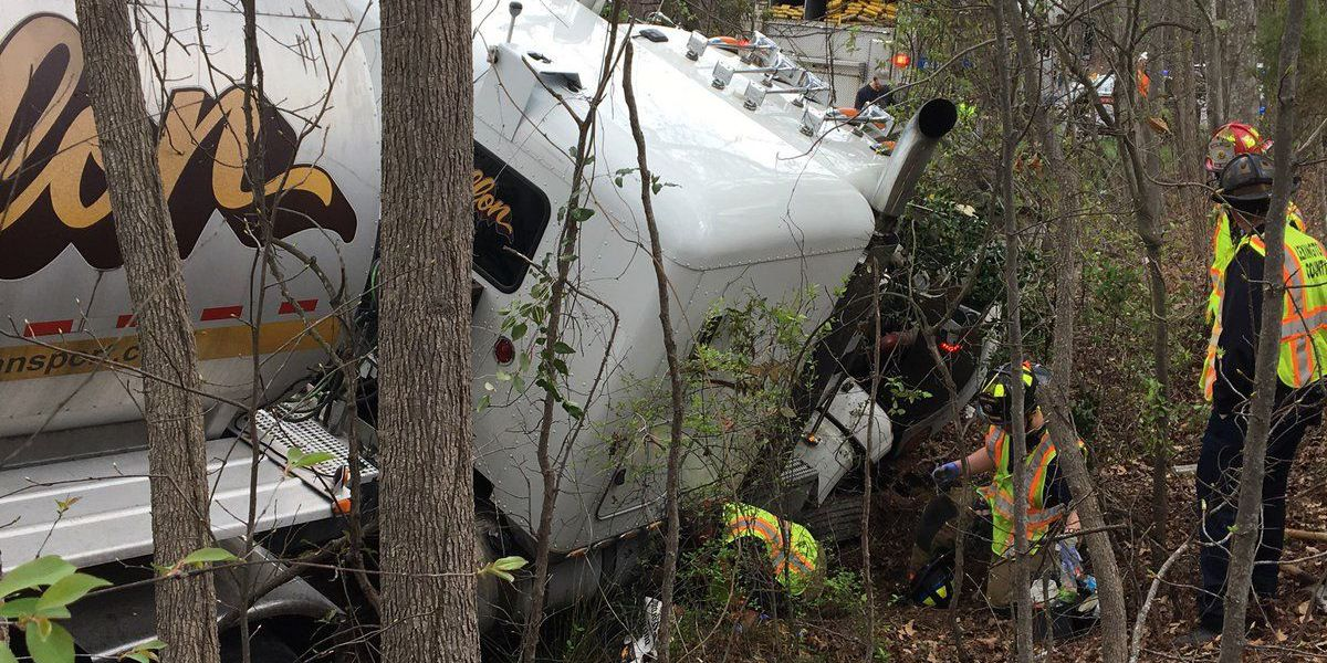 Tractor-trailer accident, diesel leak, slows traffic on I-20 near Mineral Springs Rd.