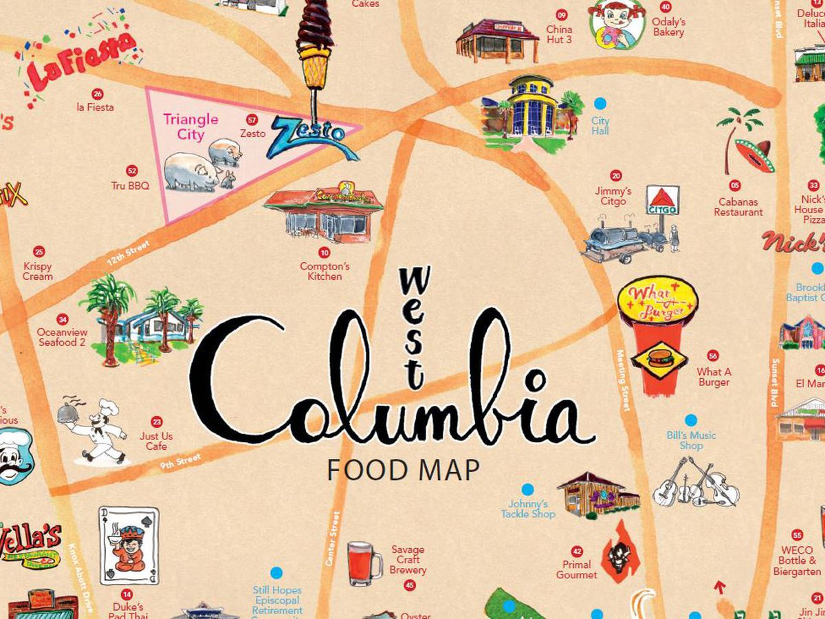 Local businessman creates food map of W. Columbia, offering locals and visitors a culinary tour of the city