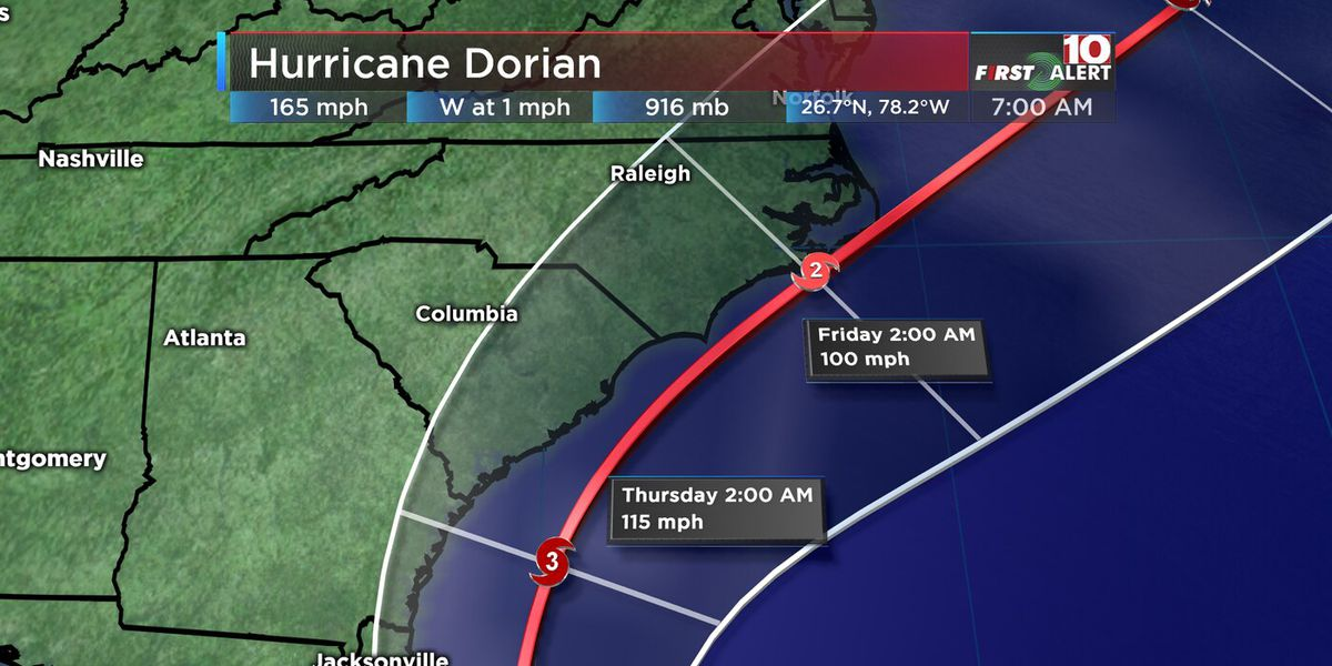 First Alert Forecast: Hurricane Dorian to affect SC by Wednesday